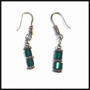 Swarovski Crystal Emerald Green Drop Earrings